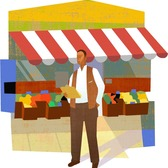 Mick Wiggins - Business, Businessman, Butcher, Farming, Green, Groceries, Marketplace, Town, Vegetables, Village
